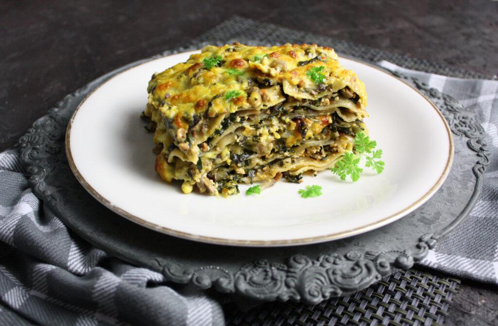spinat champignon lasagne