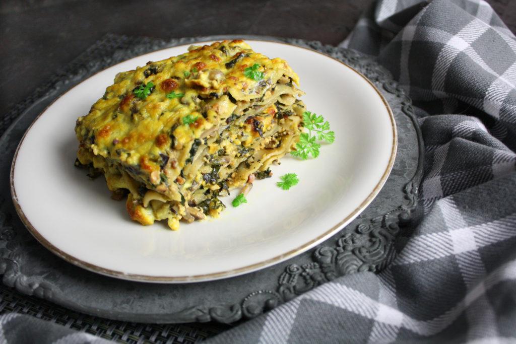 Leckere Champignon-Lasagne mit Spinat