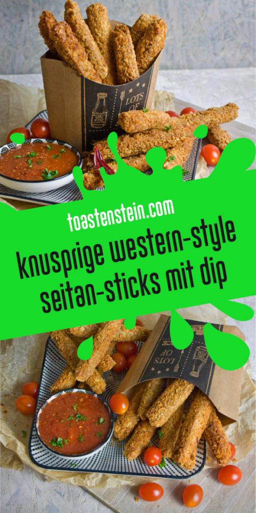 Western Style Seitan-Sticks mit Dip