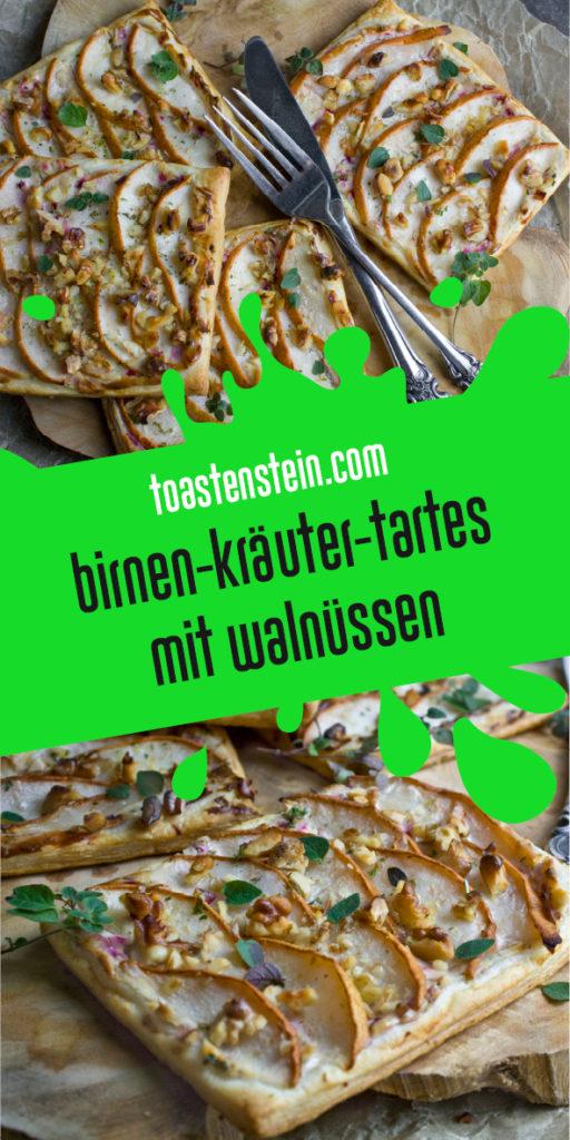 Birnen-Tartes mit Kräutern und Walnüssen