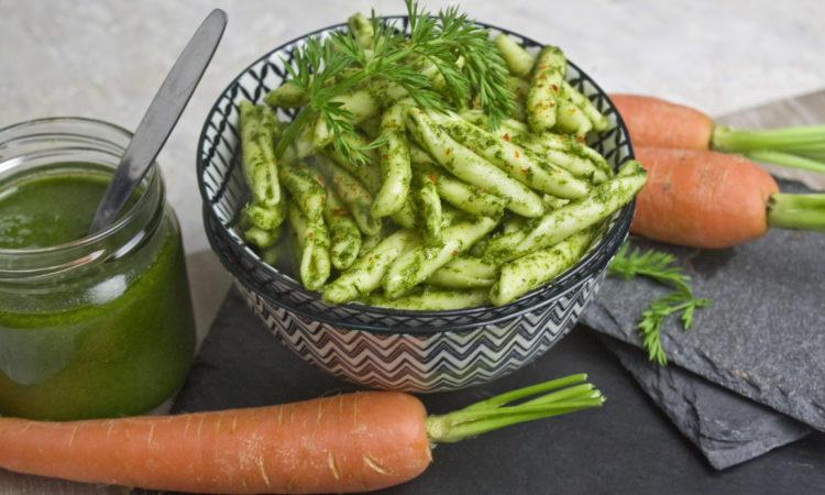 Möhrengrün-Pesto Toastenstein