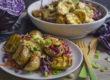 Kartoffel-Rotkohl-Salat mit Masala-Joghurt-Dressing