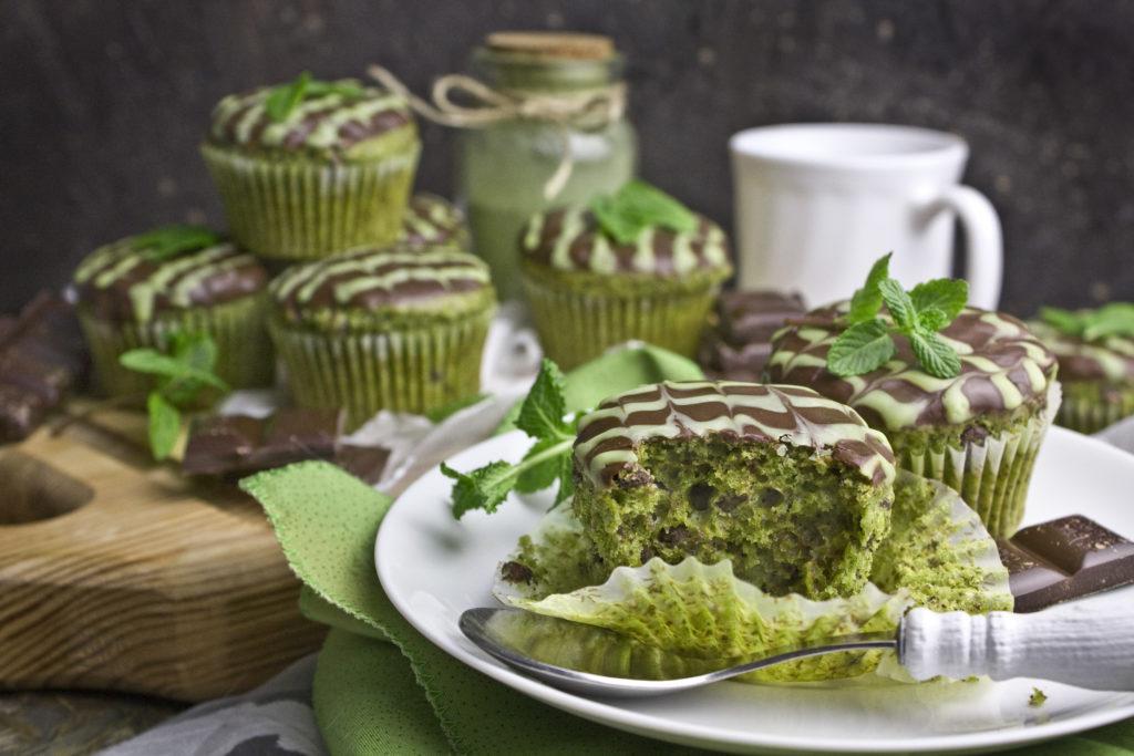 Matcha-Minz-Muffins mit Schokolade | Toastenstein