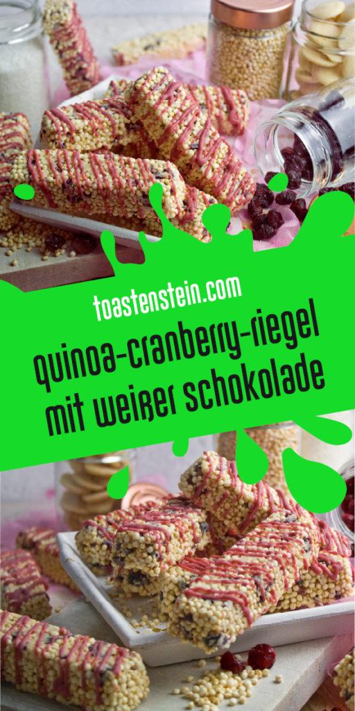 Quinoa-Cranberry-Riegel mit weißer Schokolade | Toastenstein