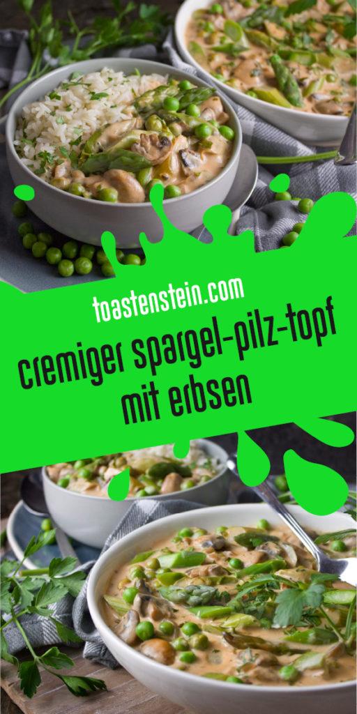 Cremiger Spargel-Pilz-Topf mit Erbsen | Toastenstein