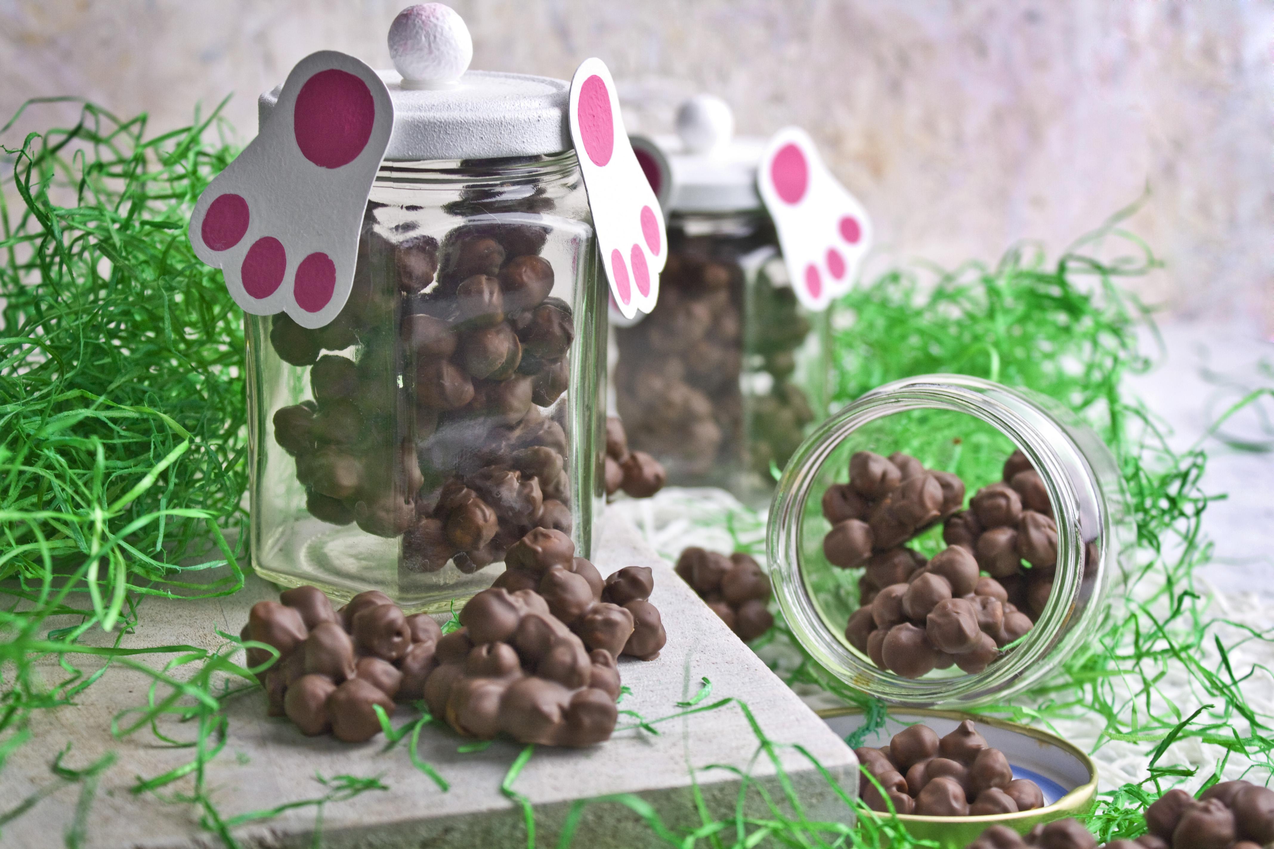 Hasenköttel! – Geröstete Kichererbsen in Schokolade