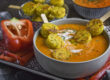 Paprika-Karotten-Suppe mit Polenta-Talern