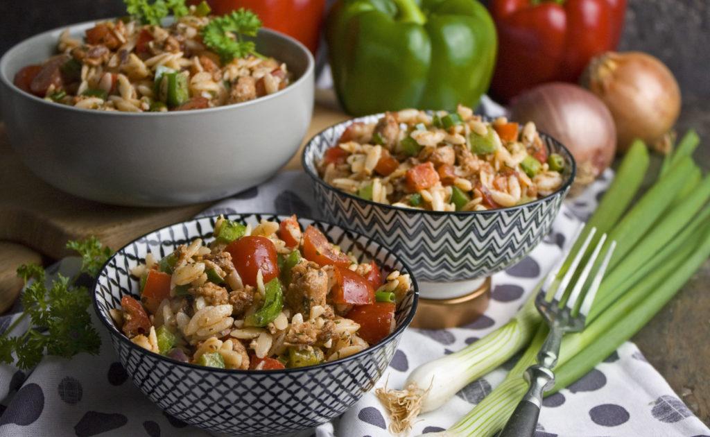 Gyros-Nudel-Salat mit Paprika und Tomaten | Toastenstein