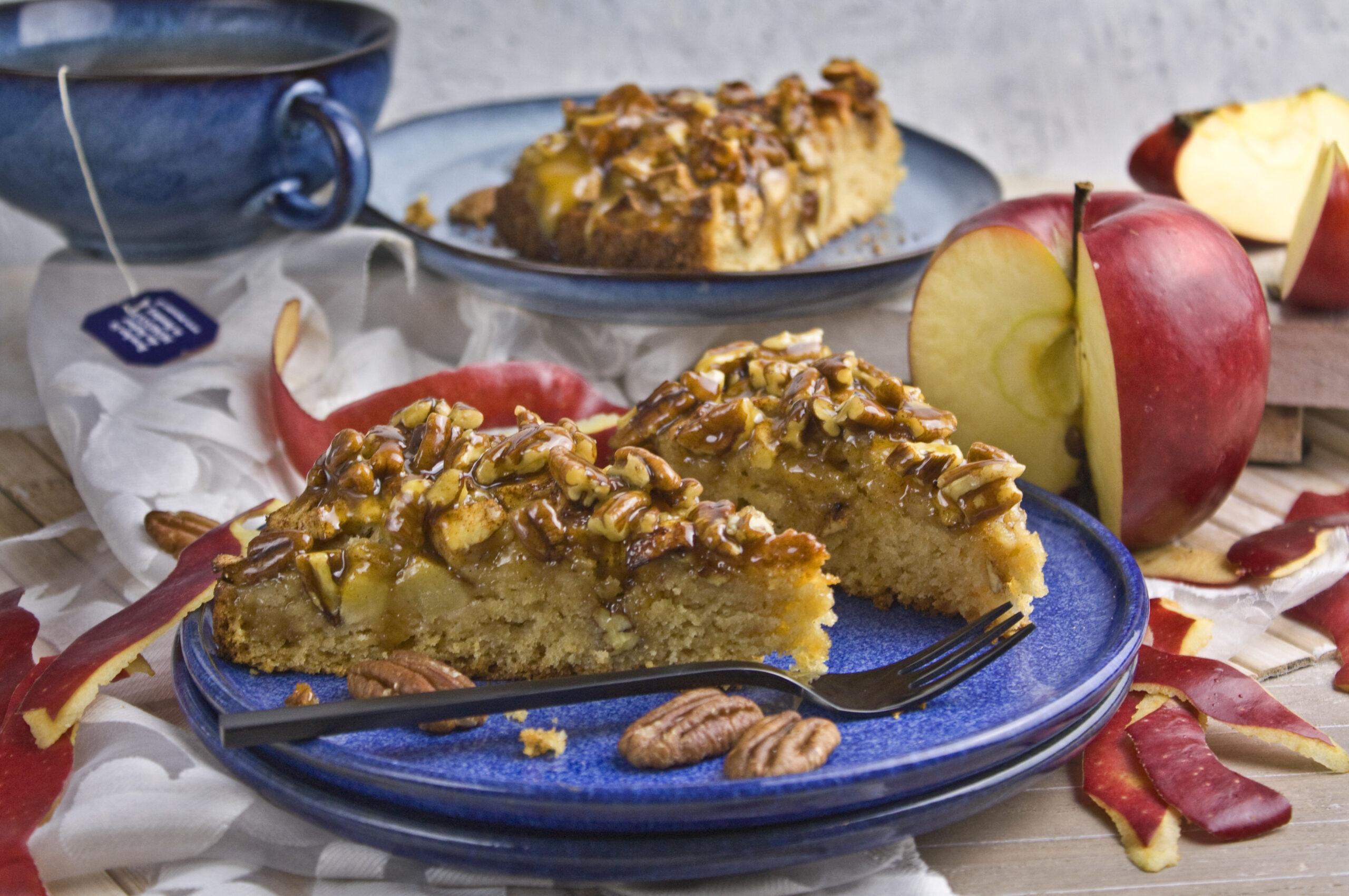 Apfel-Karamell-Kuchen mit Pekannüssen | Toastenstein