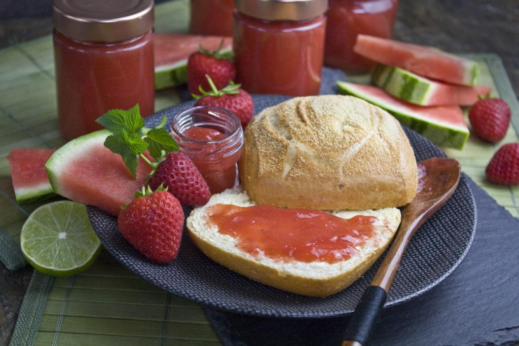 Erdbeer-Wassermelonen-Marmelade   Toastenstein