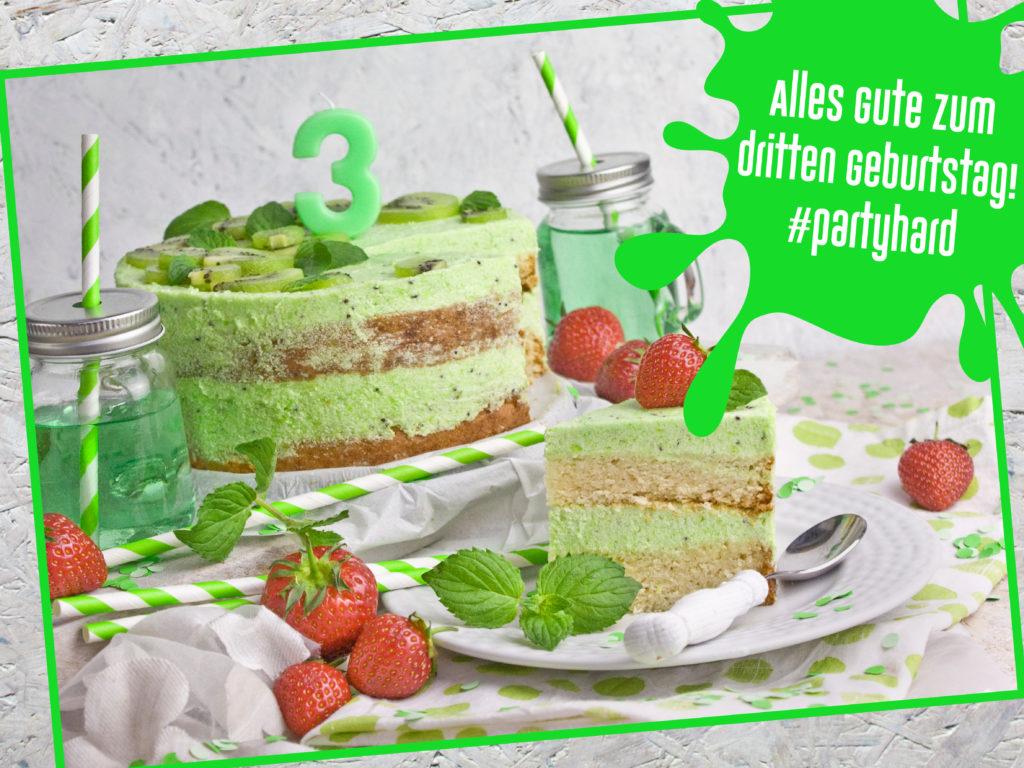 Rückblick zum Geburtstag! Geburtstagstorte – Kiwi-Melonen-Torte – Toastenstein