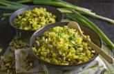 Curry-Reis-Salat mit Rosinen und Pistazien