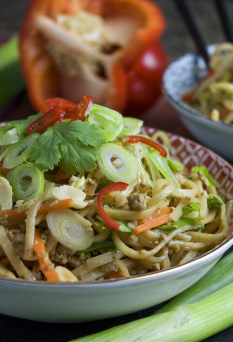 Reisnudel-Gemüse-Salat mit Erdnuss-Dressing | Toastenstein